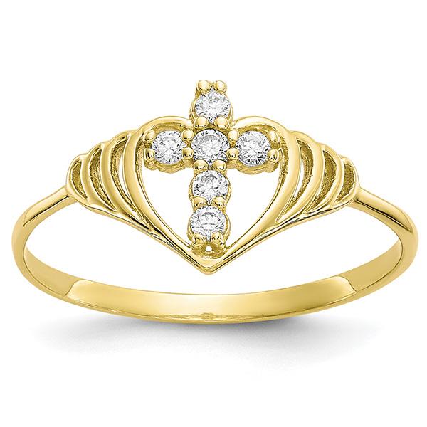 10K Gold Cross Inside Heart CZ Ring