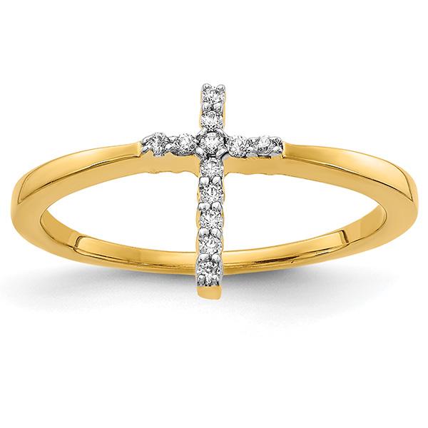 14K Gold Diamond Cross Ring for Women