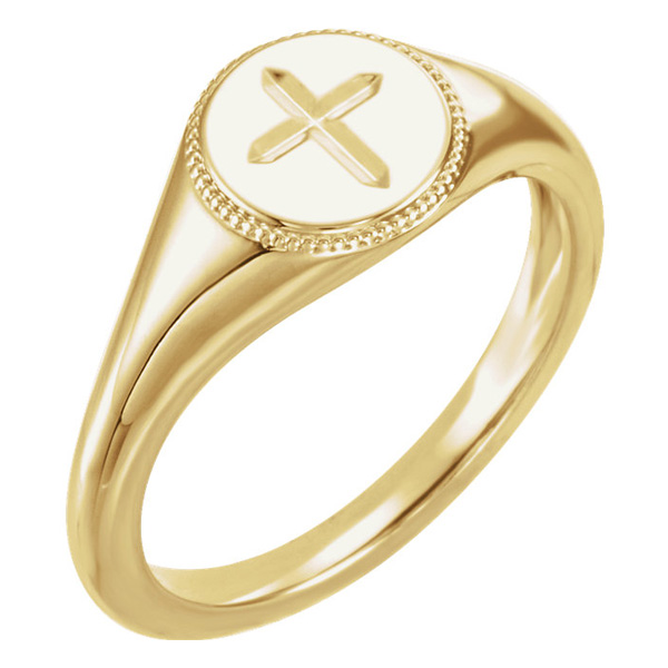 14K Gold Etched Christian Cross Ring for Women