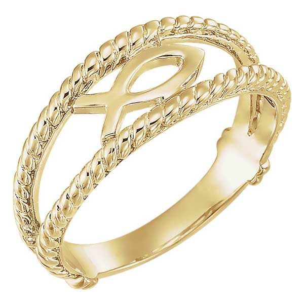 14k Gold Ichthus Fish Women's Ring