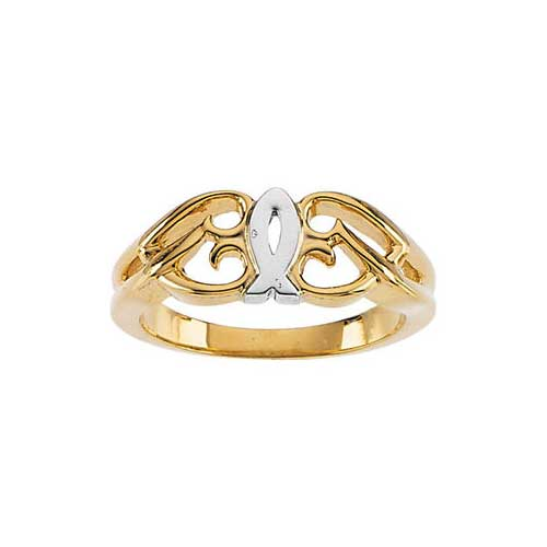 14K Two-Tone Gold Ichthus Heart Ring