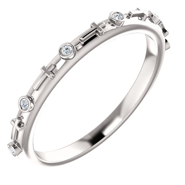 Women's Bezel-Set Diamond Cross Band in 14K White Gold