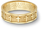 Women's Christian Cross Bible Verse Ring in 14K Gold