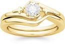 Cross Diamond Bridal Wedding and Engagement Ring Set