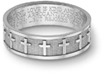 Women's 14K White Gold Christian Cross Bible Verse Ring
