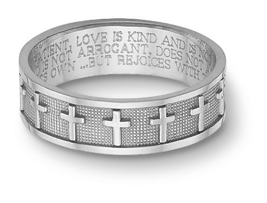 Women's 14K White Gold Christian Cross Bible Verse Ring