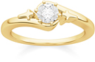 1/3 Carat Diamond Solitaire Cross Engagement Ring