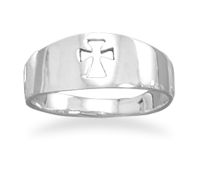 Cut-Out Christian Cross Band Ring, Sterling Silver