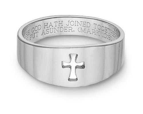Cut-Out Cross Bible Verse Ring, 14K White Gold