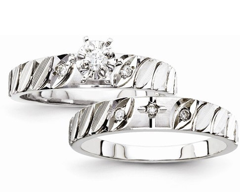 Diamond Cross Bridal Engagement Wedding Ring Set
