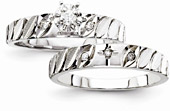 Diamond Cross Engagement Bridal Wedding Ring Set