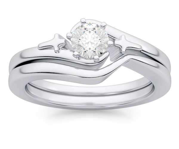 Diamond Cross Engagement Ring Wedding Set