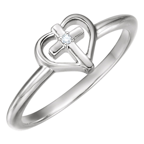 Small Diamond Cross and Heart Ring, 14K White Gold