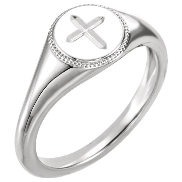 Engraved Cross Ring for Women, 14K White Gold