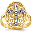 Filigree Cross Ring, 14K Two-Tone Gold