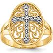 Filigree Cross Ring, 14K Two-Tone Gold