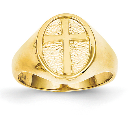 Women's Cross Signet Ring, 14K Gold