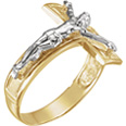Men's 14K Two-Tone Gold Crucifix Ring