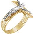 Men's 14K Two-Tone Gold Crucifix Ring