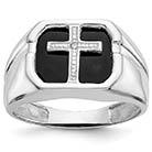 Men's 14K White Gold Onyx and Diamond Cross Ring