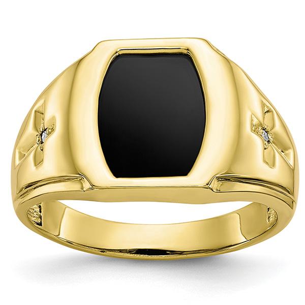 Men's Diamond Cross Accent Onyx Ring in 10K Gold