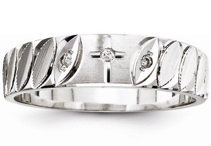 Diamond Cross Wedding Band for Men  14K White Gold. Mens Cross Wedding Band. Home Design Ideas