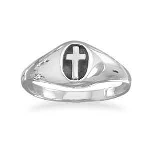 Oxidized Oval Christian Cross Ring, Sterling Silver