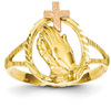 Praying Hands Cross Ring, 14K Rose and Yellow Gold
