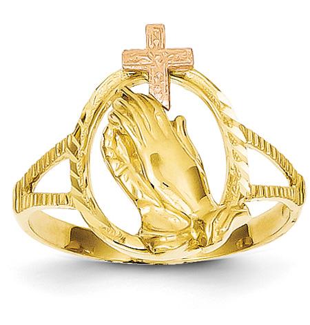 Praying Hands Cross Ring, 14K Rose and Yellow Gold