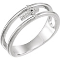 Suspended Diamond Cross Band for Women in 14K White Gold