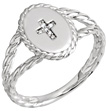 Women's Twisted Diamond Cross Ring, 14K White Gold