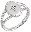 Women's Twisted Diamond Cross Ring, 14K White Gold