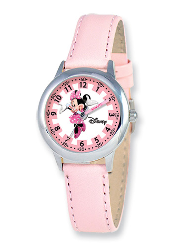 Minnie Mouse Watch for Girls, Pink Leather