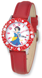 Snow White Watch, Red Leather