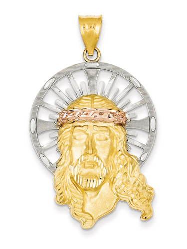 14K Tri-Color Gold Jesus Head Pendant