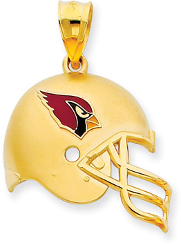NFL Arizona Cardinals Helmet Pendant with Enamel, 14K Yellow Gold (Apples of Gold)