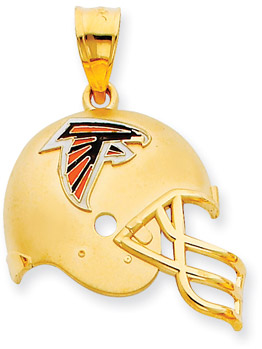 NFL Atlanta Falcons Helmet Pendant with Enamel, 14K Yellow Gold (Apples of Gold)