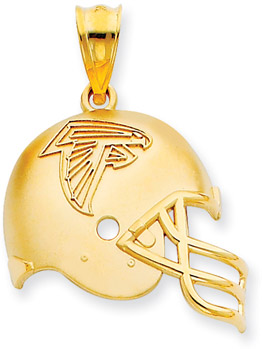 NFL Atlanta Falcons Helmet Pendant, 14K Yellow Gold (Apples of Gold)