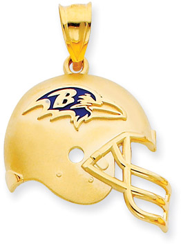 NFL Baltimore Ravens Helmet Pendant with Enamel, 14K Yellow Gold (Apples of Gold)