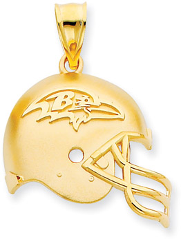 NFL Baltimore Ravens Helmet Pendant, 14K Yellow Gold (Apples of Gold)
