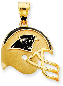 NFL Carolina Panthers Helmet Pendant with Enamel, 14K Yellow Gold (Apples of Gold)