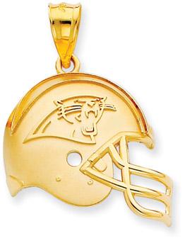 NFL Carolina Panthers Helmet Pendant, 14K Yellow Gold (Apples of Gold)