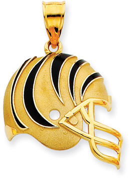 Buy NFL Cincinnati Bengals Helmet Pendant with Enamel, 14K Yellow Gold