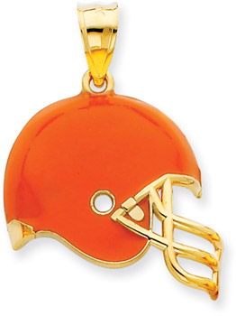 NFL Cleveland Browns Helmet Pendant with Enamel, 14K Yellow Gold (Apples of Gold)