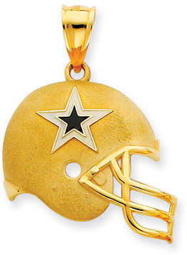 Buy NFL Dallas Cowboys Helmet Pendant with Enamel, 14K Yellow Gold