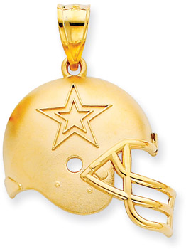 NFL Dallas Cowboys Helmet Pendant, 14K Yellow Gold (Apples of Gold)
