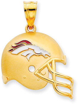 Buy NFL Denver Broncos Helmet Pendant with Enamel, 14K Yellow Gold
