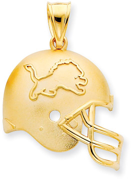 Buy NFL Detroit Lions Helmet Pendant, 14K Yellow Gold