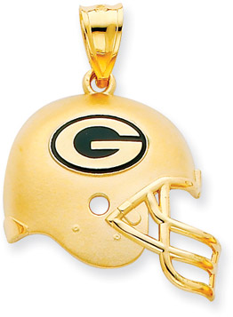 NFL Green Bay Packers Helmet Pendant with Enamel, 14 Yellow Gold (Apples of Gold)