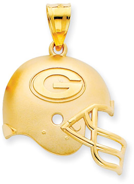 Buy NFL Green Bay Packers Helmet Pendant, 14 Yellow Gold